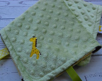 Security Blanket... Green, Yellow and Brown Minky Baby Blanket... Lovey Blanket... Minky Tag Blanket... Giraffe Baby Blanket
