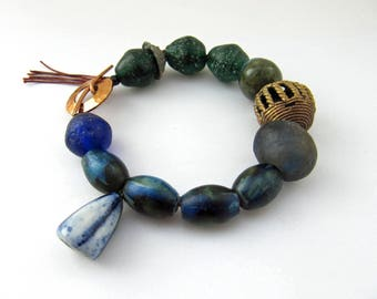 Last Of The Old, First Of The New - rustic green and blue bracelet w/ art beads; emerald and dark blue unique primitive mixed media bracelet