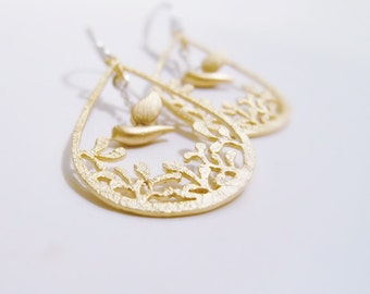 I've found my nest (earrings) - 14k Gold plated tear drop filigrees and tiny birds