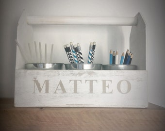 Arts and Crafts Storage Caddy - Personalized Toolbox - Crayon Marker Paint Brush Holder - Hand Painted Monogram Distressed Gender Neutral