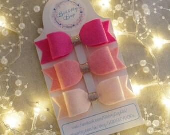 A set of 3 Pink Handmade, Super soft, Wool blend felt, Hair bows, Hair clips.