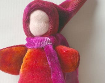 """Small Soft Pocket Doll: Hand Dyed Organic Toy (Waldorf Baby Doll or Gnome, 5"""")"""
