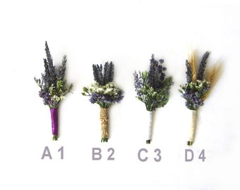 "Organic Dried Lavender Boutonniere - Goomsman - Gooms Bestman "" Your Choice""  One Each. MADE TO ORDER!"
