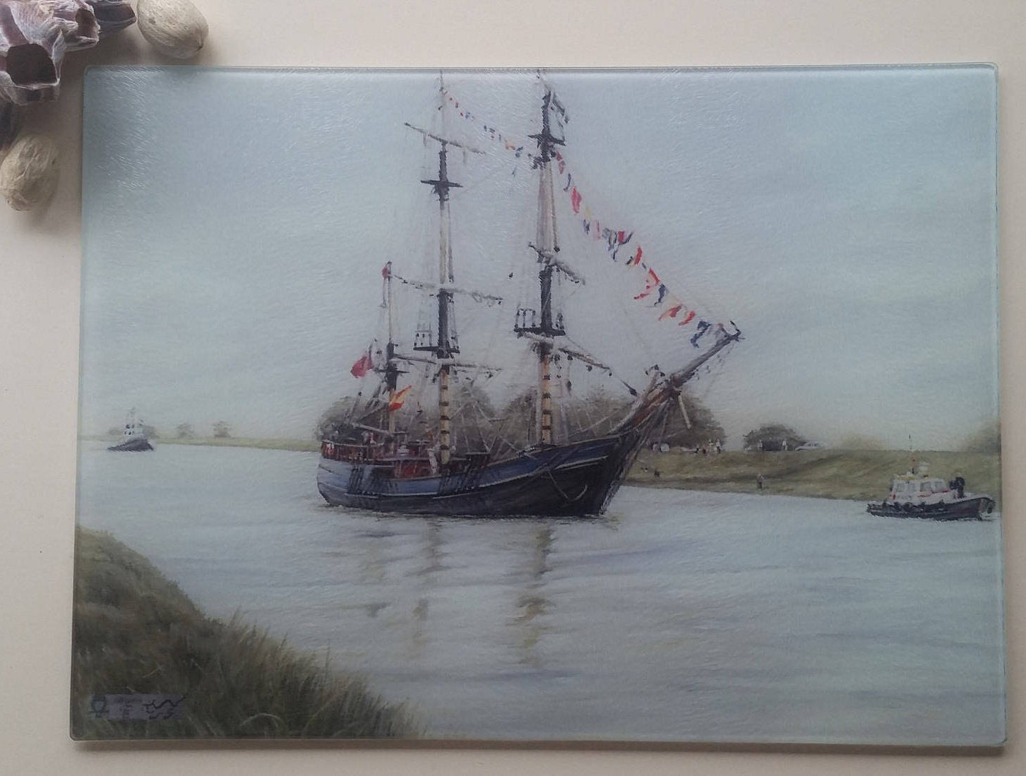 Ship Painting Glass Worktop Saver/Boat Kitchen Glass Cutting