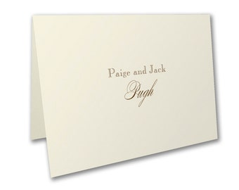 Thank You Note Cards, Thermography Printed Ecru Thank You Note Cards, Ecru Envelopes Included
