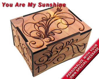 """Aromatic Red Cedar Windup Music Box w/Velvet Tray, """"You Are My Sunshine"""", Laser Engraved, Gold Movement"""