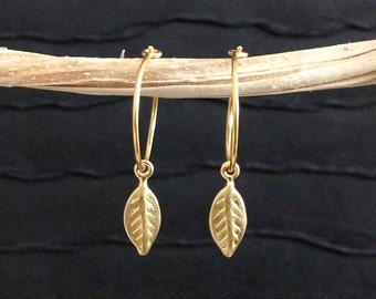 Gold Leaf Earrings - 24kt gold vermeil 15mm hoop - minimalist, everyday jewelry E324