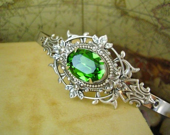 Tsarina-Russian Princess--Swarovski fern green crystal metal headband--OX sterling silver plated brass