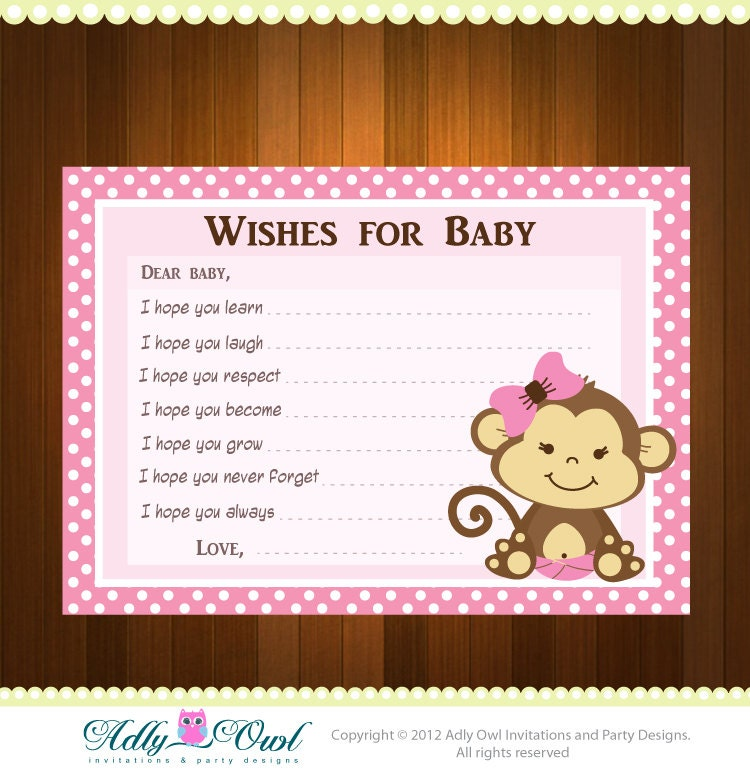 Pink girl monkey wish and advice card for baby shower print zoom filmwisefo