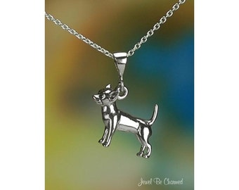 "Sterling Silver Chihuahua Necklace 16-24"" Chain or Pendant Only .925"