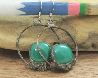 Emerald Green Hoop Earrings | Fused Glass | Earrings | Gift Under 50 | Eclectic Jewelry | Bohemian | Eccentric | Gift for Women