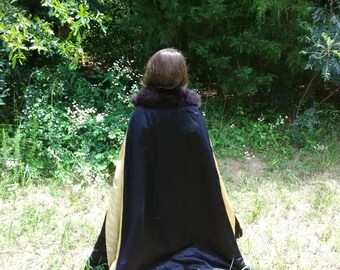 Handmade Reversible Fur Trimmed Girl's Cloak and Cape