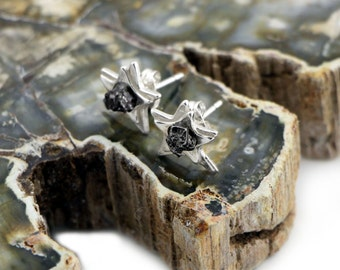 Star Space Earrings with Real Meteorite - Sterling Silver