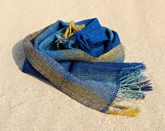 Luxurious handwoven wool scarf in blue, turquoise, green and gold alpaca and Shetland wool