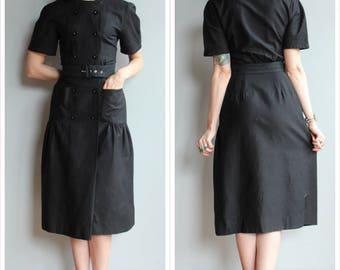 1990s does 1950s Dress // Park Avenue Black Dress // vintage 90s dress