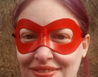 Red Domino Mask - Pointed Edged Molded Leather Mask - Superhero Costume Mask