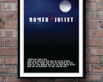 ROMEO and JULIET, Movie poster, Shakespeare print, Shakespeare quote, Romeo and Juliet print