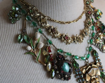 Stunning greens Victorian Assemblage necklace Collage Green Goddess vintage antique jewelry brooches rhinestones up cycled repurposed