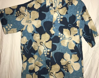 Men's Blue Hawaiian Shirt Extra Large