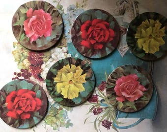 1960's Worcester Ware set of six floral coasters