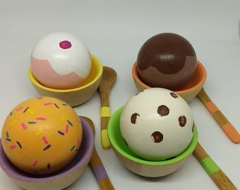 Ice Cream Set for 4 - Wooden Play Food