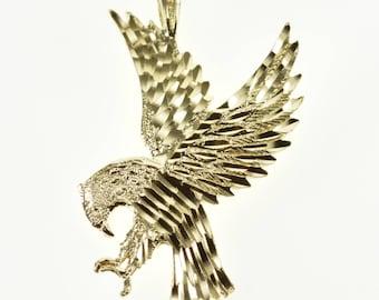 14k Diamond Cut Textured Flying Eagle Bird Pendant Gold