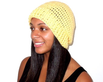 Crochet Slouchy Hat, Tam, Hippie, Women, Men, Teen, Bright Yellow