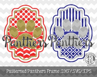 Panthers Patterned Frame design INSTANT DOWNLOAD in dxf/svg/eps for use with programs such as Silhouette Studio and Cricut Design Space