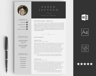 Creative Resume Template For Word   Instant Download CV Template   Design  With Cover Letter,