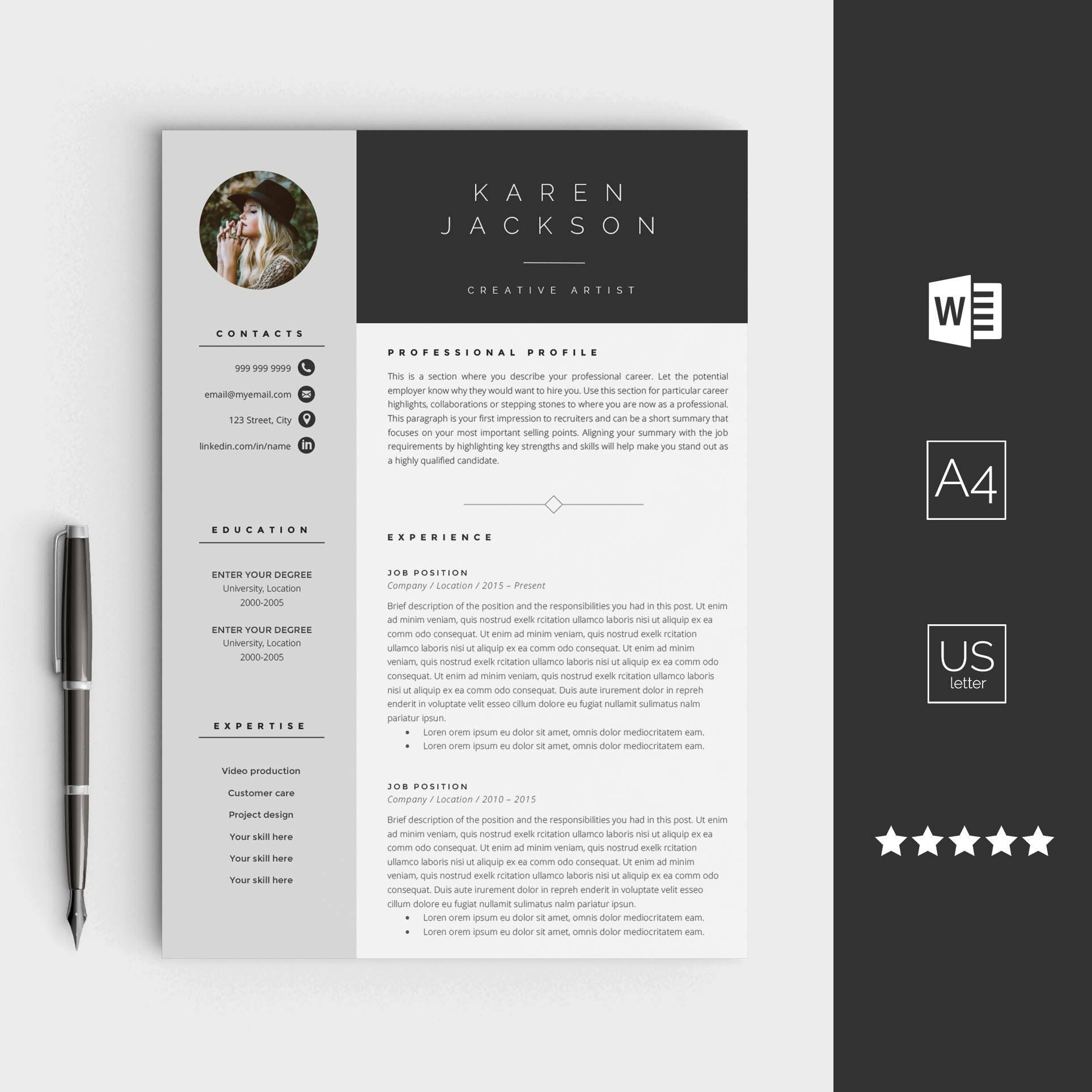 Kreative Lebenslauf Vorlage für Word sofortiger download CV