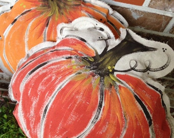 Hand Painted - Drop Cloth Pumpkin Pillow Set
