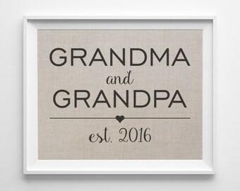 Grandma & Grandpa Established Date   Linen Print   New Grandparents Gift   New Grandchild Gift   Grandchildren   Gift for Grandma Grandpa