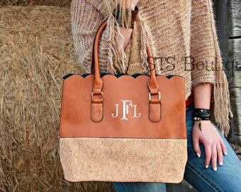 Monogrammed - Scalloped Cork & Camel Tote Purse - Machine Embroidered