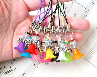 Colorful Flower Angel Zipper Pull Charms Custom Colors Holiday Nylon Cord Adorable Flower Skirt Angel Wing Sparkly Disco Ball AB Crystal
