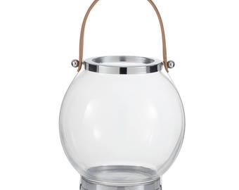 Round transparent glass lantern with brown leather handles - 30 cm H x 28 cm W x 28 cm D