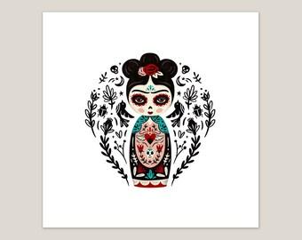 Fierce Like Frida Doll - Art Print 8x8