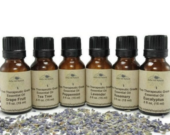 Set Of Six (6) Essential Oils Sample Kit - Pure Therapeutic Grade Undiluted Essential Oil.