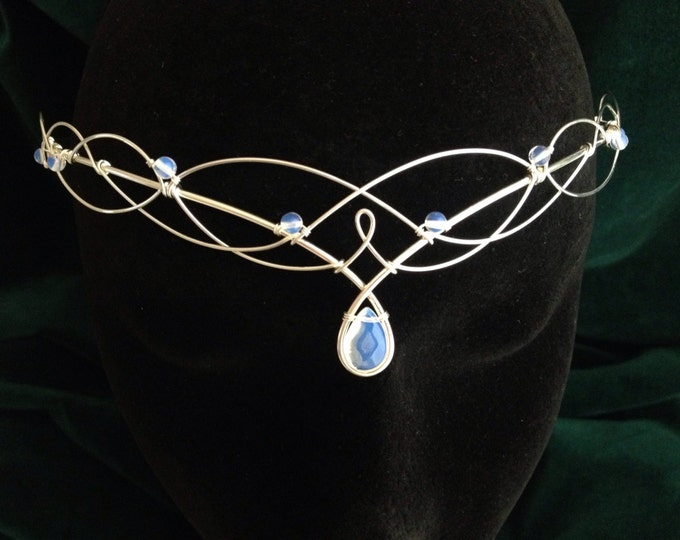 Silver Moonstone Bridal Circlet, Celtic Headpiece, Medieval Headdress, Wedding Tiara, Elven Tiara, Moonstone Headpiece, Elven Circlet