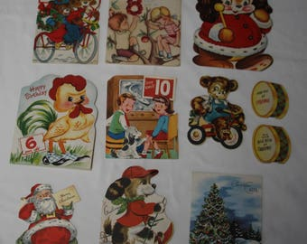 Lot of 11 Used Vintage 1940's & 1950's Christmas and Birthday Cards for 6, 8 and 10 Old, Used Cards, Scrapbooking, Collage, Framing Antique