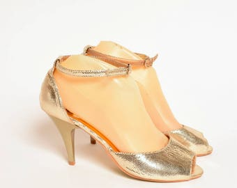 Vintage Gold Glittery Sandal Heels with Ankle Straps