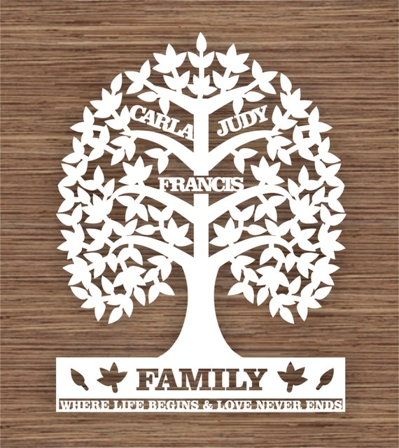 custom leaf family tree for 3 three family members pdf svg
