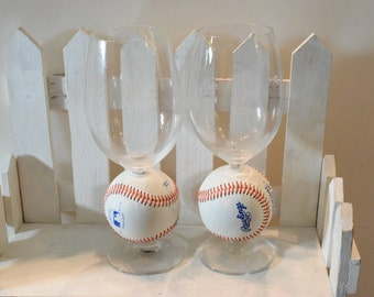 Unique Baseball Wine glasses, Baseball wine glasses, Novelty Baseball Wine glasses
