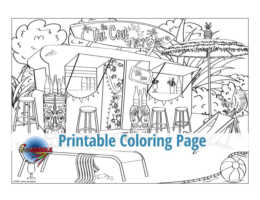 The Tiki Bar is Open Adult Coloring Page Tropical Tropics