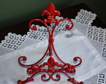 Cast Iron Fleur de lis Cookbook Holder in Banner Red
