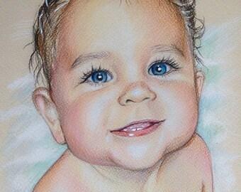 Custom portrait Baby Pencil Portrait From Photo realistic Portrait Commission Personalized Gift Colored Pencil Portrait Colour Pencil