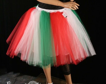 Adult tutu skirt romance with underskirt christmas elf white green red costume Italian dance party  -You Choose Size - Sisters of the Moon