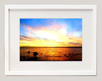 Fine Art Print, Beach photograph, Sunset picture, Irish landscape, framed Picture, from Ireland X
