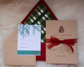 Christmas, Pinecone, Fall Wedding Invitation