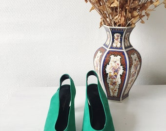 Suede heels green vintage 1980's