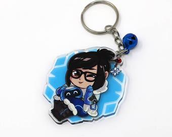 "2"" Overwatch inspired Mei fanart keychain charm"
